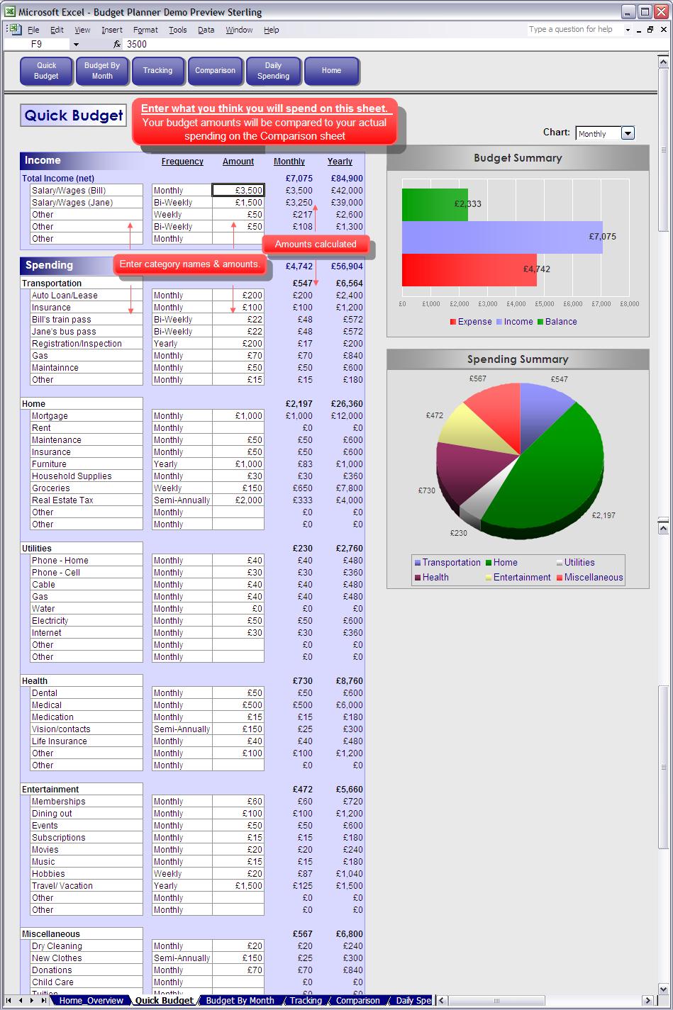 Excel Quick Budget Spreadsheet