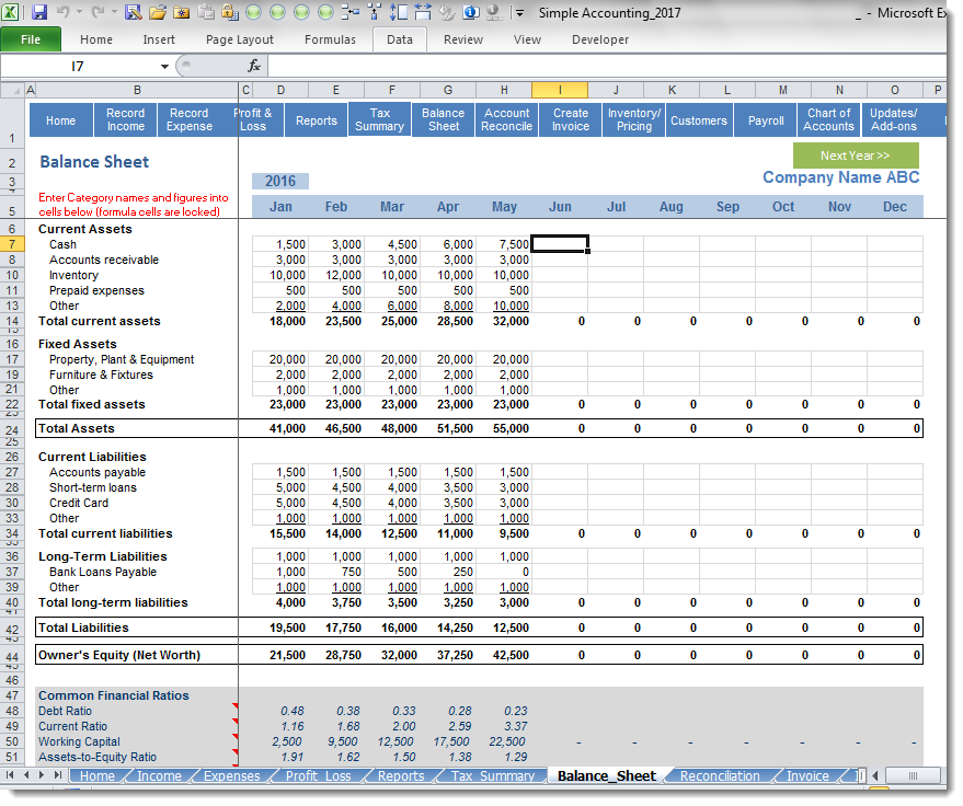 Simple accounting premium balance sheet screenshot for Simple planning com