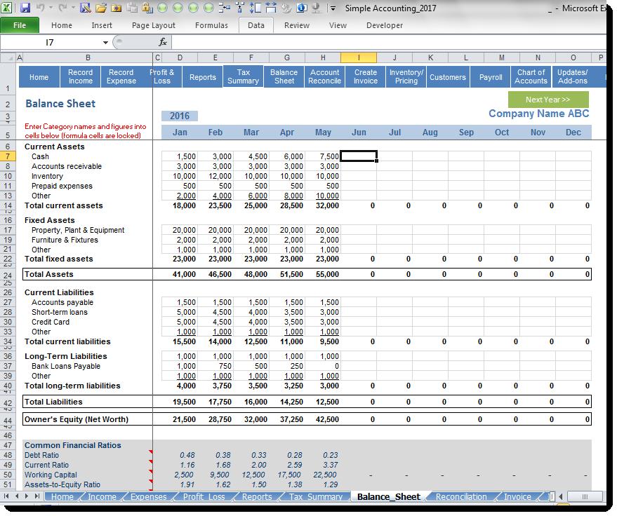Simple Accounting Software - Balance Sheet
