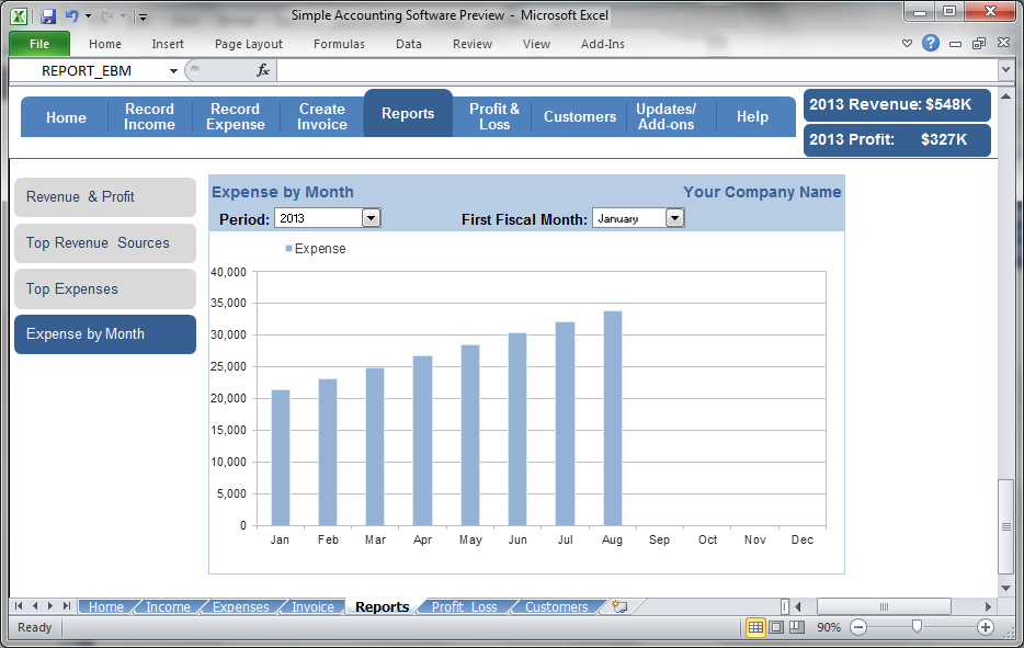 Simple Accounting Software - Expense by Month