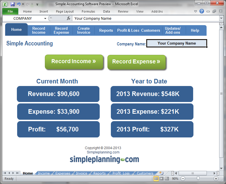 Simple Accounting Software - Home