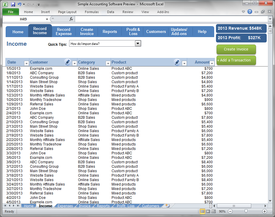 Simple Accounting Software - Record Income