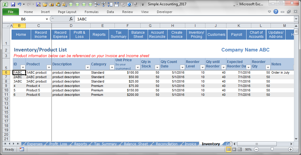 Simple Accounting Software - Inventory & Pricing