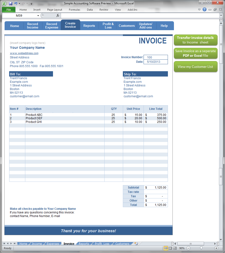 Simple Accounting Software - Create Invoice