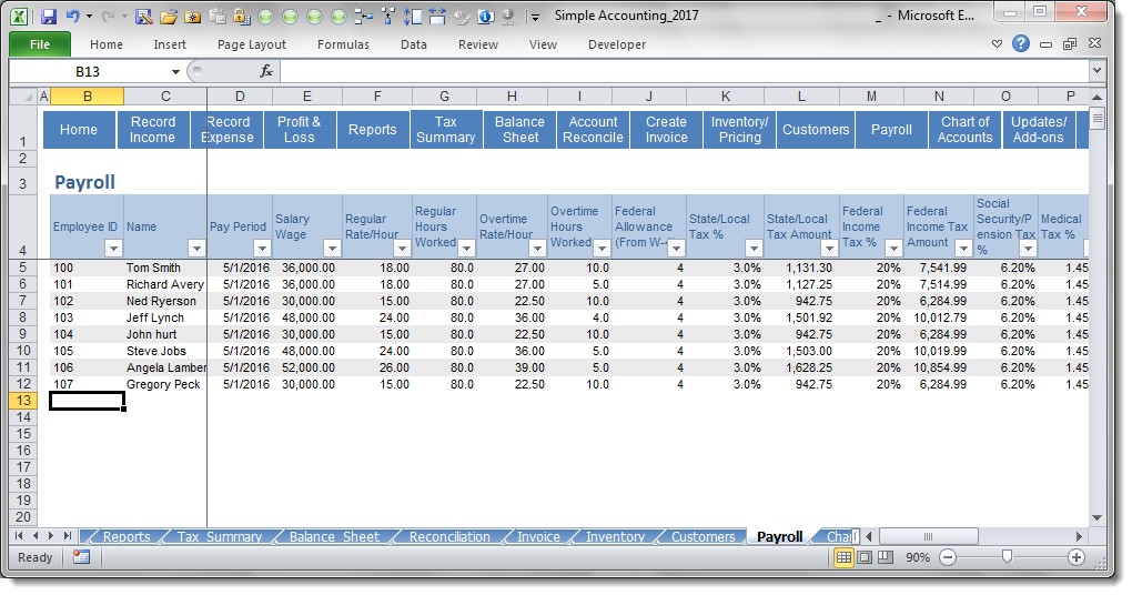 Simple accounting premium payroll screenshot for Simple planning com