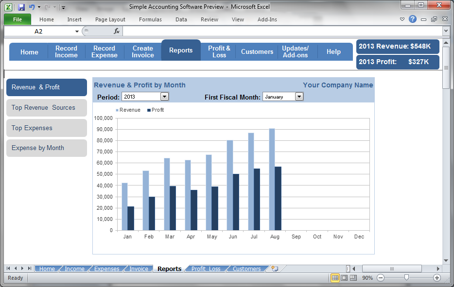 Simple Accounting Software - Revenue & Profit by Month