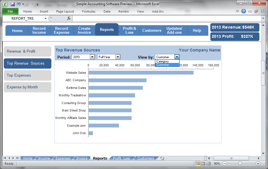 Simple Accounting Software - Top Revenue Sources
