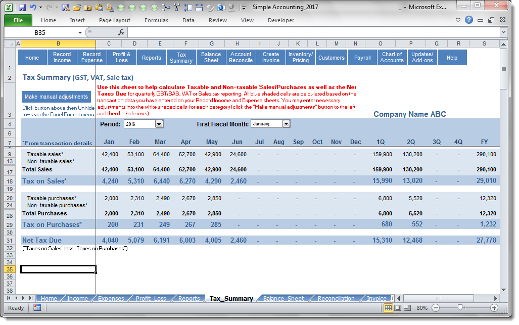 Simple Accounting Software - Tax Summary